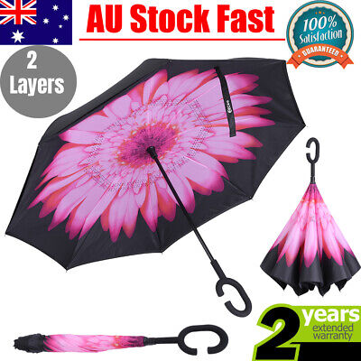 AU14.17 • Buy Upside Down Reverse Umbrella Double Layer Windproof Inside-Out Inverted C-Handle