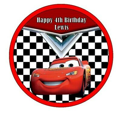 7.5  Round ICING Cake Topper - CARS, Lightning McQueen - FREE PERSONALISATION • 4.50£