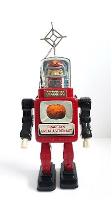 Vintage Cragstan Alps Great Astronaut Tin Battery Robot Japanese Space Toy 1962 • 1,189.99£