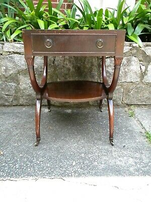 $55 • Buy Vintage Mahogany Leather Top Side Table On Casters