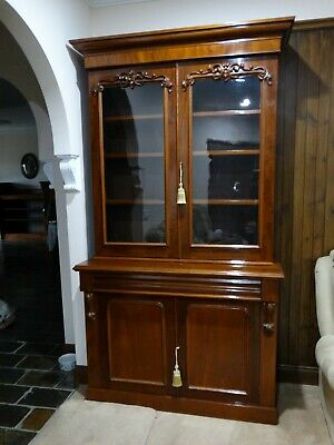 AU1500 • Buy Antique Victorian Flame Mahogany Bookcase C1860 - Superb!