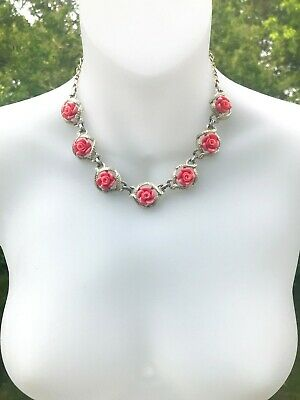 $4.24 • Buy Vintage Sarah Coventry Plastic Coral Roses Necklace And Clip On Earrings Set