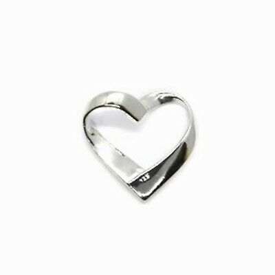 £3.99 • Buy 925 Sterling Silver RIBBON HEART PENDANT 12mm - For Necklaces - Womens
