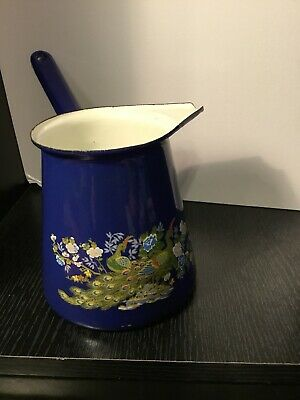 $5 • Buy Retro MCM 1970  Melting Chocolate Tea Pot Blue Peacock Long Handle Enamel Metal