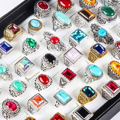 $ CDN54.28 • Buy Wholesale 50pcs/Lots Vintage Silver Metal Unisex Mix Style Glass Jewelry Ring