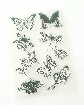 £6 • Buy 9 Insect Clear Rubber Stamps-butterflies/ladybird/dragonfly/bee/butterfly Stamp