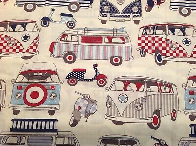 FryettsVW 60/'s Campervan Cars Pink 100/% Cotton Curtain Blind Craft Fabric