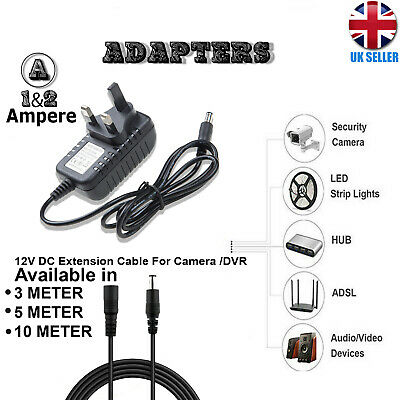 12V 1A 2A AC/DC UK Power Supply Adapter Safety Charger For LED Strip CCTV Camera • 5.70£