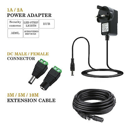 12V 1A 2A AC/DC UK Power Supply Adapter Safety Charger For LED Strip CCTV Camera • 5.86£