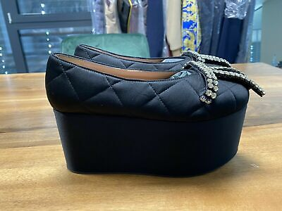 Marni Icon Quilted Satin Wedge Shoes Platform Sandals Shoes 39 • 385.69£