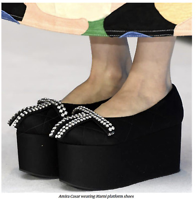 Marni Icon Quilted Satin Wedge Shoes Platform Sandals Shoes 37 • 513.48£