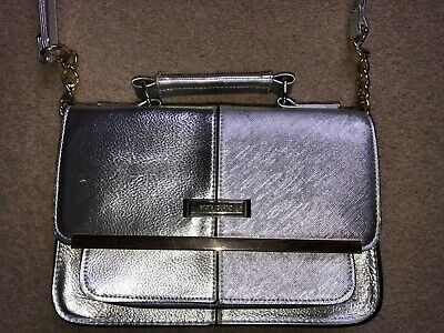 River Island Silver Small Satchel Cross Body Bag With Chain Detail • 1.30£