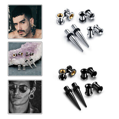 Stainless Steel Ear Tunnel Double Flared Plug Taper Expander Stretcher 2-00g Set • 9.31£