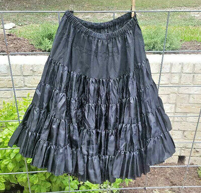 $14 • Buy Vintage Black Silky Polyester  Square Dance Petticoat By Square Up