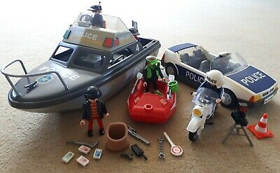 Playmobil Police Bundle Incl Boat, Dinghy, Police Car, Bike, Cops, Robber, Diver • 6.50£