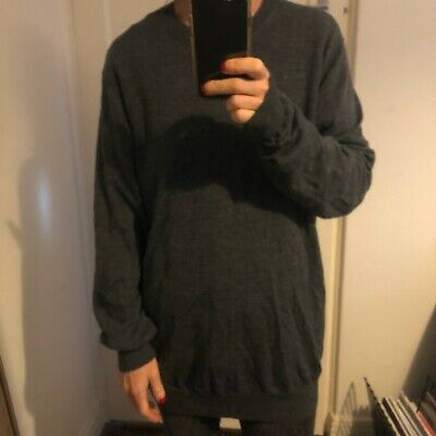 AU20 • Buy Almost BN Uniqlo Mens Charcoal Grey Knit Jumper, Size L. RRP $49.90