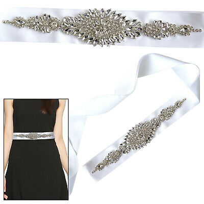 £12.39 • Buy Motif Crystal Diamante Applique Patch On White Ribbon For Bridal Sash Gown Dress