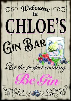 Personalised Pink Gin Cocktail Home Bar Metal Sign Plaque Gift Fun Alcohol Drink • 4.99£
