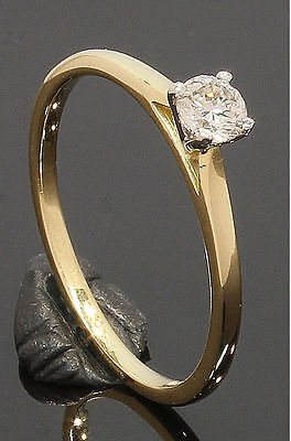 18 Carat Yellow Gold Diamond Solitaire Ring 0.16ct Size N 18CT (01.21.054) • 180£