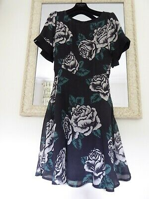 BRORA  Black Green And White Floral Garden Party Dress Viscose Wool Blend UK8 • 35.50£