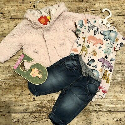 Baby Girls 0-3 Months Pink Fluffy Hoodie, Body Animal Print Top & Cotton Jeans • 2.99£