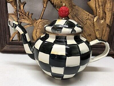 $93.99 • Buy MACKENZIE-CHILDS Courtly Check Enamel 4 Cup TeaPot - Not Used