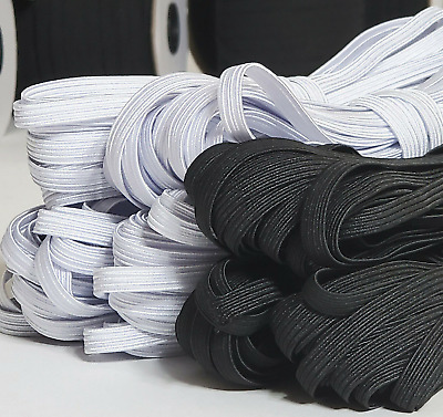 $ CDN7.97 • Buy 1/8 Inch,1/4 Inch Elastic Band Cord Sewing Trim | White & Black 1 To 200 Yards