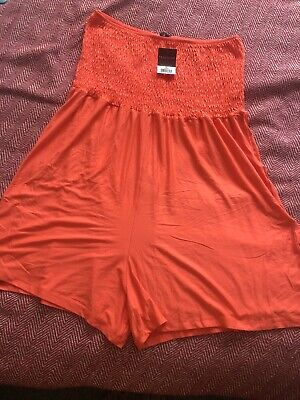 Peacocks Woman Orange Strapless Bandeau Playsuit Jumpsuit Size XL (16/18/20) New • 4.76£