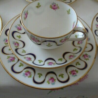 Vintage Crown Staffordshire Ribbon & Pink Roses Teaset Trio (cup,saucer, Plate) • 12£