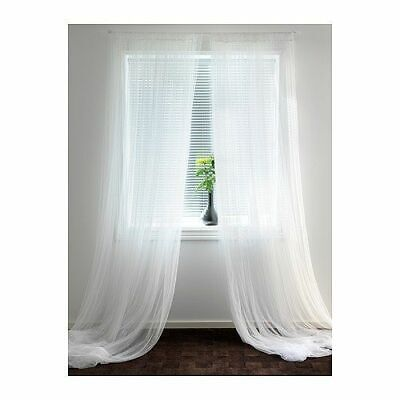 IKEA LILL Pair Of Long Sheer Floaty White Net Curtains 280 X 250cm FREE POST • 9.99£