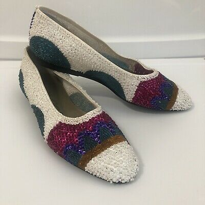 $39.99 • Buy Vintage Impo Sequin Flats Sz 8 Beaded 1980's Funky White Pink Purple