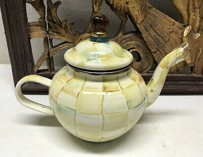 $93.99 • Buy MACKENZIE-CHILDS Parchment Check Enamel 4 Cup TeaPot - Not Used