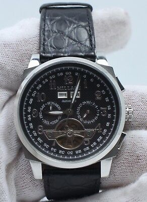 $600 • Buy Millage Tourbillion Collection With Black On Silver Genuine Coroco Calf Leather