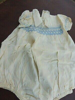 1940's Ivory Silk And Blue Smocked Romper Outfit • 25£