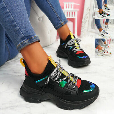 $ CDN22.15 • Buy Womens Ladies Lace Up Chunky Trainers Party Sneakers Women Sport Shoes Size