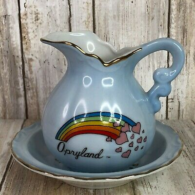 $43.23 • Buy Opryland Vintage Bathing Pitcher & Bowl Blue Rainbow Hearts Small Country Music