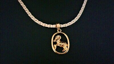 Gold Aries Ram Zodiac Birth Star Sign Pendant Birthstone Necklace Chain • 3.99£