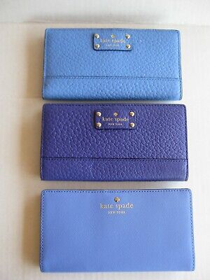 $ CDN37.63 • Buy New! Kate Spade Stacy Bifold Leather Wallet Blue Or Purple - New With Tags