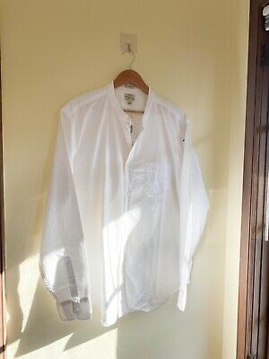 $34 • Buy New - Mens J. Crew Banded Collarless Oxford Casual Shirt White Sz XL