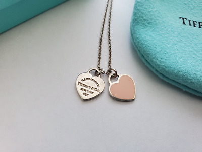 $99.99 • Buy TIFFANY & CO.Return To Tiffany Pink Enamel Mini Double Heart 925 Silver Necklace