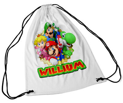 Personalised Drawstring Bag Any Name Super Mario Swimming School Nursery PE 39 • 7.49£