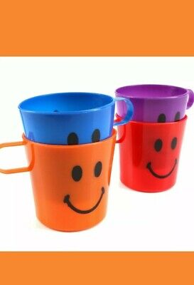 4x CHILDREN KIDS PLASTIC SMILEY FACE MUGS CUPS WITH HANDLE FUN TRAVEL HOME • 4.99£