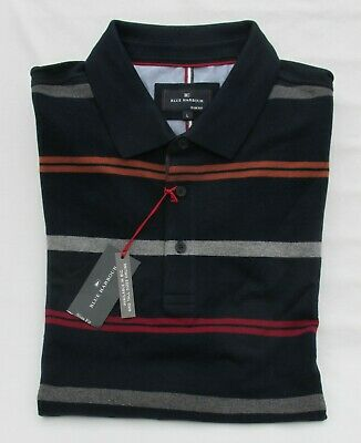 Men's Marks And Spencer Blue Harbour Navy Mix Striped Cotton Polo Shirt Size L • 14.99£