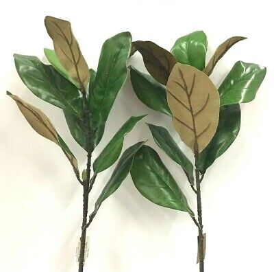$13.99 • Buy Magnolia Leaf Spray Stems~Set Of 2~Green, Natural~28  T~Artificial~GOOD QUALITY