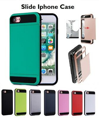 AU6.99 • Buy Iphone 7 8 Plus XR XS 11 11pro Shockproof Slide Wallet Card Holder Case Cover