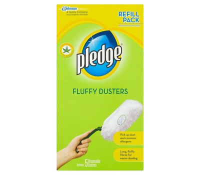 Pledge Fluffy Dusters 5 Refill Pack Disposable Dry Duster Dusting Cleaning Fibre • 7.60£