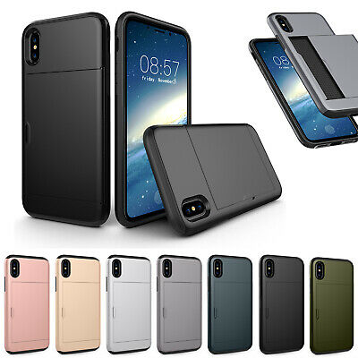 AU8.49 • Buy Hybrid Hard Armor Case Cover With Card Holder Slot For IPhone 11 XR Samsung