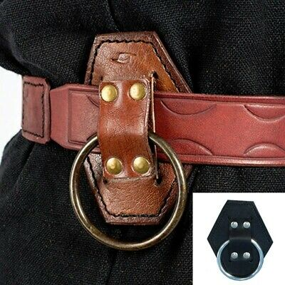 Leather Belt Ring For Axe / Hammer / Sword. LARP Weapon Holder Black Or Brown • 12£
