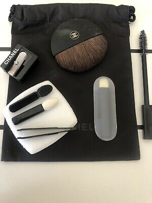 BN CHANEL Travel  Brushes Set - Brow Eyes Tweezers Sharpener Powder Pouch • 24.50£