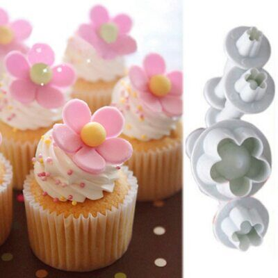 3 Or 4 Pcs Flower Snowflake Cookie Cutter Cake Decorate Sugarcraft Embossed Mold • 4.55£